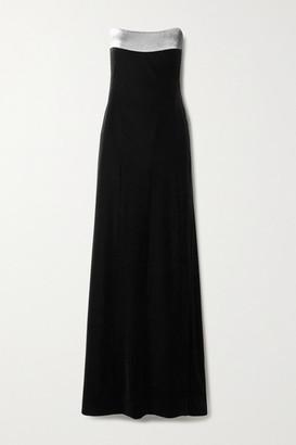 Galvan Strapless Lurex-trimmed Velvet Gown - Black