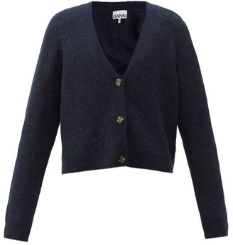 Ganni Cropped V-neck Wool-blend Cardigan - Navy
