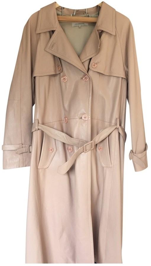 Gerard Darel Beige Leather Trench Coat for Women