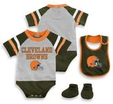NFL Cleveland Browns Size 24M 3-Piece Creeper Bib and Bootie Set