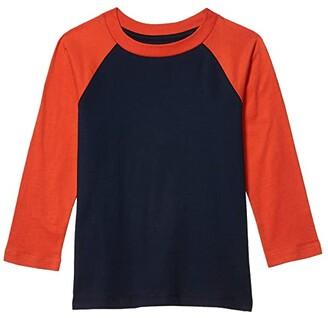 #4kids Essential Raglan Long Sleeve Shirt (Little Kids/Big Kids) (Navy/Pureed Pumpkin) Kid's Clothing