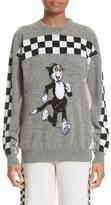 Stella McCartney Women's Korky The Cat Check Wool Sweater