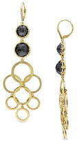 Catherine Malandrino 18K Goldplated 0.06TCW Diamonds and Hematite Circle Linked Drop Earrings