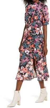 Julia Jordan Floral Puff Sleeve Midi Dress