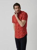 Frank + Oak Summer Print Poplin-Cotton Shirt in Lava