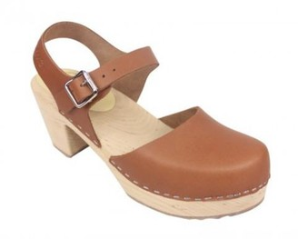 Lotta Clogs Lotta clogs - Lottas Clogs Highwood Tan Leather On Wooden Base - 38