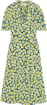 Diane von Furstenberg Lily Belted Floral-print Silk Crepe De Chine Midi Dress