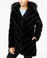 Calvin Klein Faux-Fur Chevron-Seamed Coat