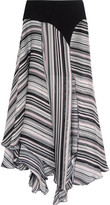 Giambattista Valli Crepe-trimmed Striped Silk-satin And Chiffon Skirt - Black