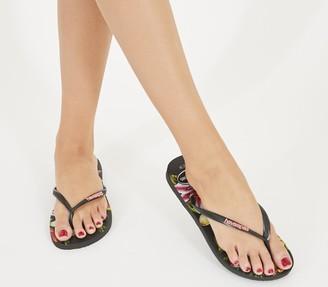 Havaianas Slim Floral Flip Flops Black
