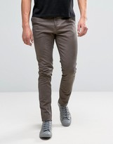 Asos Skinny Chinos With Oil Wash and Raw Hem In Brown