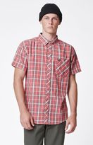 Brixton Howl Plaid Short Sleeve Button Up Red Shirt