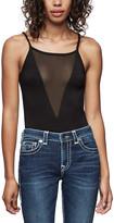 True Religion Women's Bodysuits BLACK - Black Deep-V Mesh Bodysuit - Women