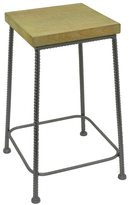Three Hands 88947 Wood and Metal End Table with Rebar Detailing