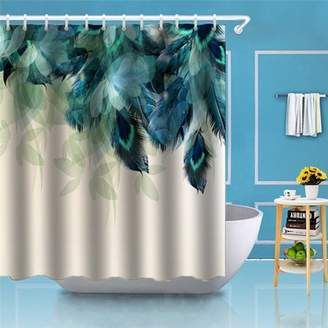 Kadell 70.9x70.9 Inch Bathroom 3D Watercolor Decor Peacock Feather Printing Waterproof Shower Curtain