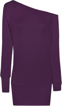 WearAll New Ladies Off Shoulder Batwing Long Sleeved Womens Top - Black - 12/14