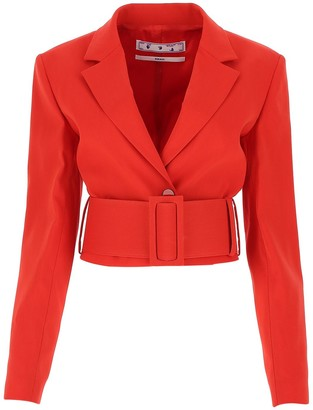 Off-White Belted Cropped Blazer