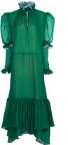 Natasha Zinko Emerald Silk Frill Midi Dress