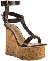 chocolate leather t-strap cork platform wedges