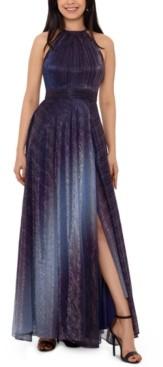 Betsy & Adam Petite Metallic Ombre Gown