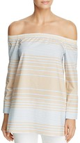 Lafayette 148 New York Amy Off-the-Shoulder Stripe Blouse