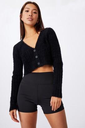 Factorie Fluffy Knit Super Crop Cardi