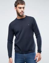Farah Stones Crew Sweater Cotton Knit Slim Fit in Navy