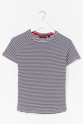 Nasty Gal Womens That's Stripe Crew Neck Fitted Tee - Navy