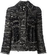 Simone Rocha beaded tweed fitted jacket - women - Cotton/Nylon/Acetate/Wool - 6