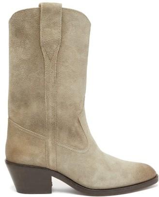 Isabel Marant Danta Suede Western Boots - Womens - Beige
