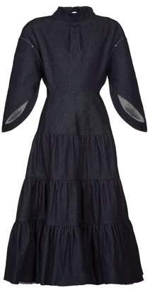 Chloé Cape-sleeve Tiered Denim Dress - Womens - Dark Denim
