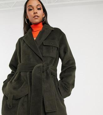 Asos DESIGN Tall brushed utility coat in khaki