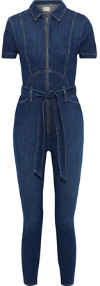Alice + Olivia Gorgeous Belted Denim Jumpsuit