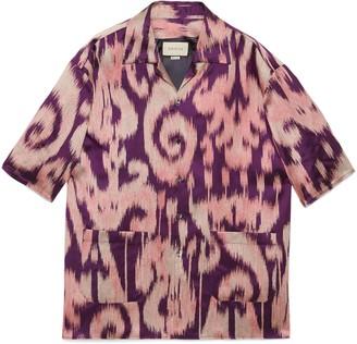 Gucci Retro swirl jacquard oversize bowling shirt