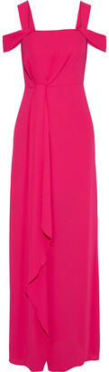 Halston Cold-shoulder Draped Crepe De Chine Gown