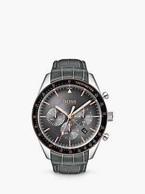 HUGO BOSS 1513628 Men's Trophy Chronograph Leather Strap Watch, Grey