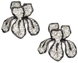 Kenneth Jay Lane Crystal Flower Clip Earrings