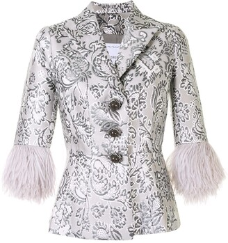 Andrew Gn Floral Brocade Feather Cuff Jacket