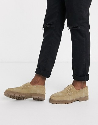 House of Hounds sirus chunky boat shoes in beige suede