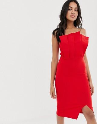 Girl In Mind fan bandeau midi dress-Red