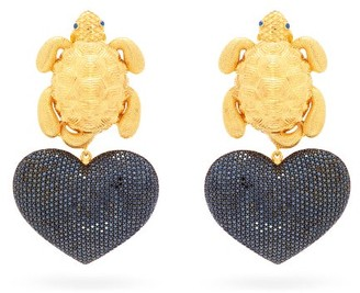 BEGÜM KHAN Turtle Mon Amour Gold-plated Clip Earrings - Black Gold