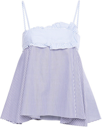 Carven Ruffled Paneled Cotton Oxford Top