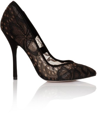 Paper Dolls Footwear Black Lace Court Shoes