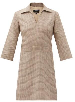 A.P.C. Merida Shepherd-checked Wool-twill Dress - Beige