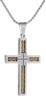 Lynx Men's Stainless Steel Cable Cross Pendant Necklace