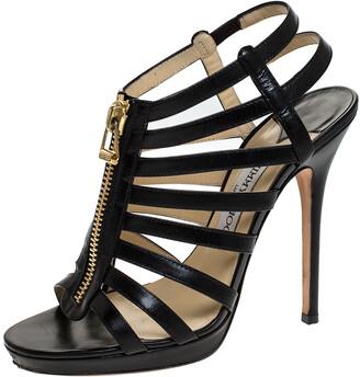 Jimmy Choo Black Leather Glenys Gladiator Platform Sandals Size 38