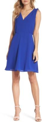 Vince Camuto V-Neck Chiffon A-Line Dress (Regular & Petite)