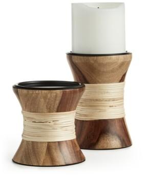 Lucky Brand Wood Pillar Holders, Set of 2