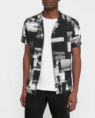 Express Palm Print Short Sleeve Rayon Shirt