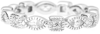 Sterling Silver Round and Marquise Shaped White Cubic Zirconia Milgrain Eternity Ring